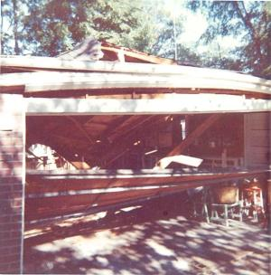 Fred Kemp's garage circa 1966. Tree cutter messed up on his directions.