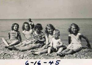 At the beach in 1945