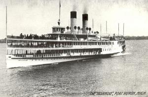 Tashmoo side wheeler steamboat Launched Dec 30 1899 . Scrapped 1936