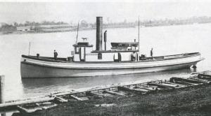 Tug Pacifica GTRR dock Port Huron. Canadian side steamer United Empire being built.