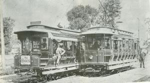 City Electric Railway Circa 1896. Conductors Wm Delres in car, Jack Neal on car. Going to Tunnel Depot and Beaches