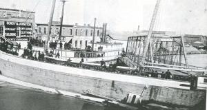 Barge H F Church rammed by steamer Burlington at Military St Bridge