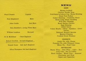 Thanksgiving Menu for the Jupiter 1951 Marianne Kemp's Grandfather was !st Ass't Engineer