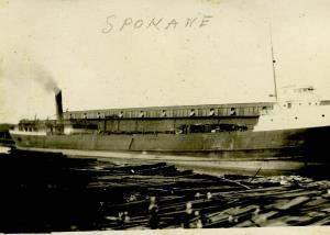 Steamer Spokane in front of what appears to be the Point Edward shipping sheds. Now the site of the Point Edward Casino.
