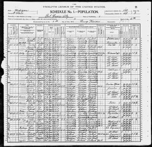 June 4th 1900 Census Showing Sherman Families at 1025 and 1039 Court St