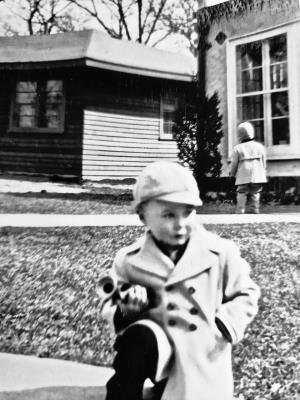 Dave McElroy's father Dave at age 4 in front of Ross Mahon's house, the first house in Sherman Woods.