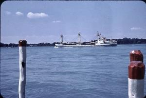 Freighter Heading North on the St Clair River circa 1965
